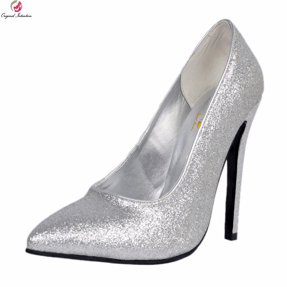 Original Intention New Fashion Women Pumps Nice Glitter Pointed Toe Thin High Heel Pumps Silver Shoes Woman Plus US Size 4-15 plus big size 34 47 shoes woman 2017 new arrival wedding ladies high heel fashion sweet dress pointed toe women pumps a 3
