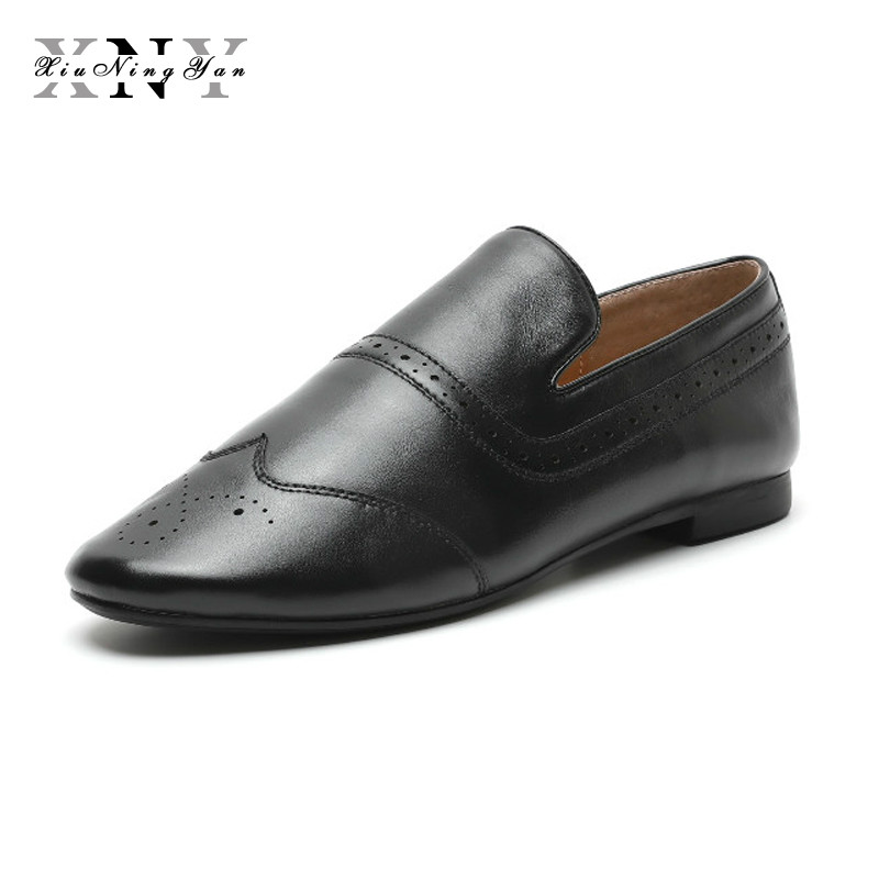 XiuNingYan Women's Shoes Flats Fashion Oxfords Round Toe Women Casual Shoes Soft Genuine Leather Shoes Woman Loafers Big Size 40 lovexss genuine leather oxford shoes 2017 spring khaki black metal decoration flats loafers women big size 33 42 oxfords