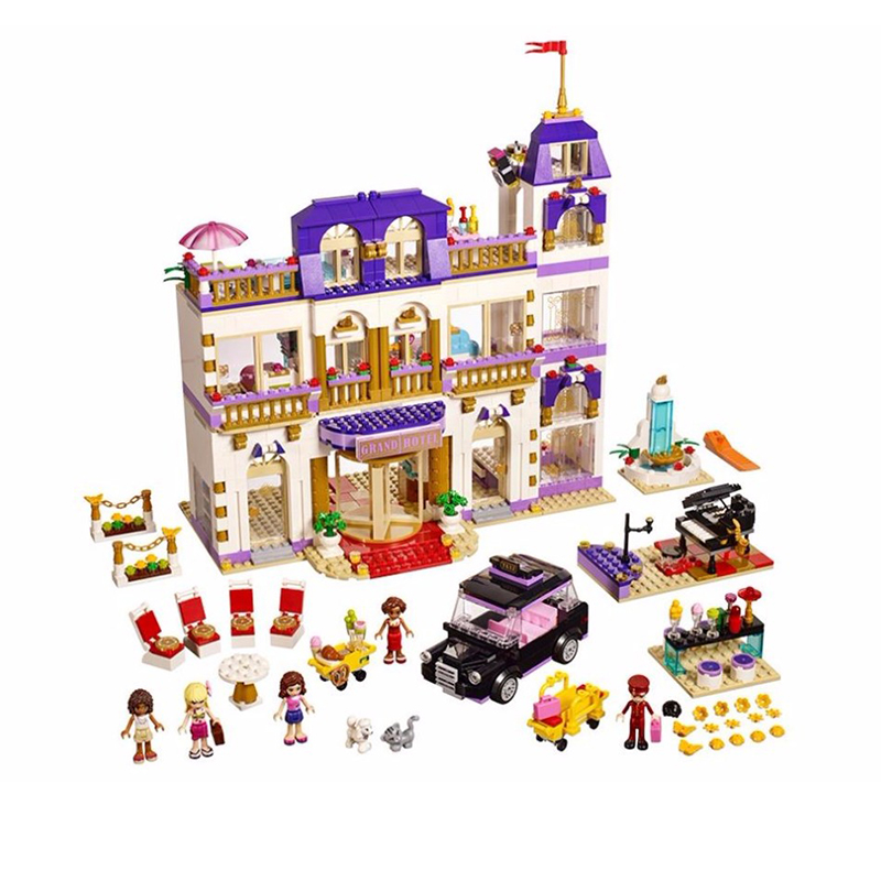 BELA 10547 Girls Friends Heartlake Grand Hotel Figures Building Block Kid Model DIY Bricks Toys For Children Compatible Lepin compatible lepin city block police dog unit 60045 building bricks bela 10419 policeman toys for children 011