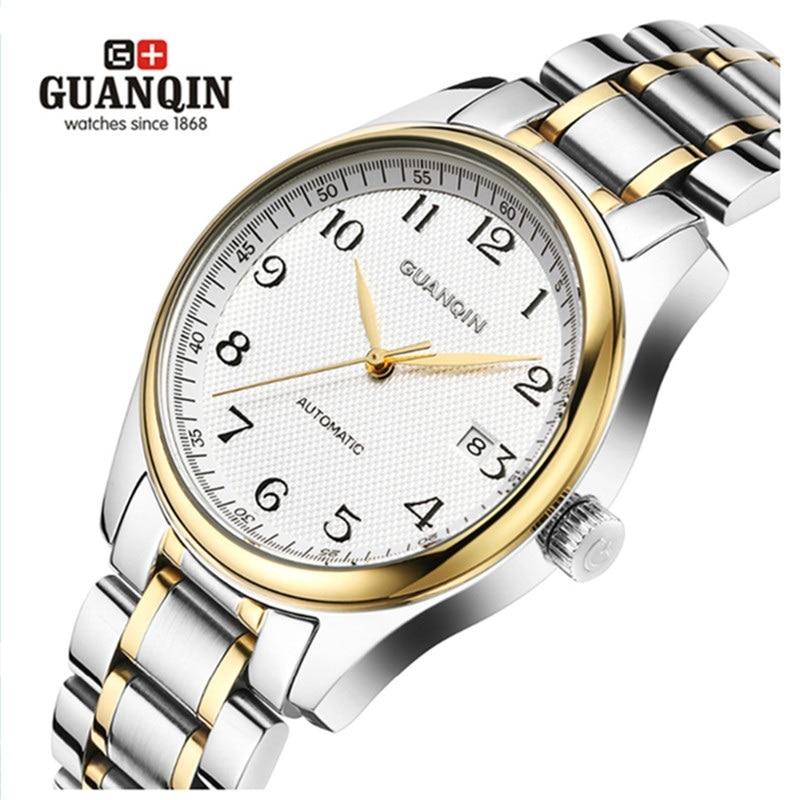 Famous Brand GUANQIN Men Mechanical Watch Fashion Luxury Waterproof Watches Men Steel Wrist Watches Relogio Masculino