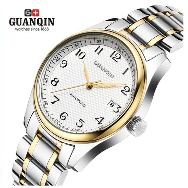 2c3cf610ea4 Famous Brand GUANQIN Men Mechanical Watch Fashion Luxury Waterproof Watches  Men Steel Wrist Watches Relogio Masculino