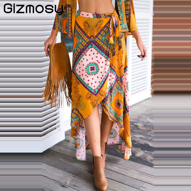 f5a061b4e2 Gizmosy Vintage Floral Print Long Skirts For Women Summer Elegant Beach  Maxi skirt Bohemia High Waist Asymmetrical Skirt BN2644