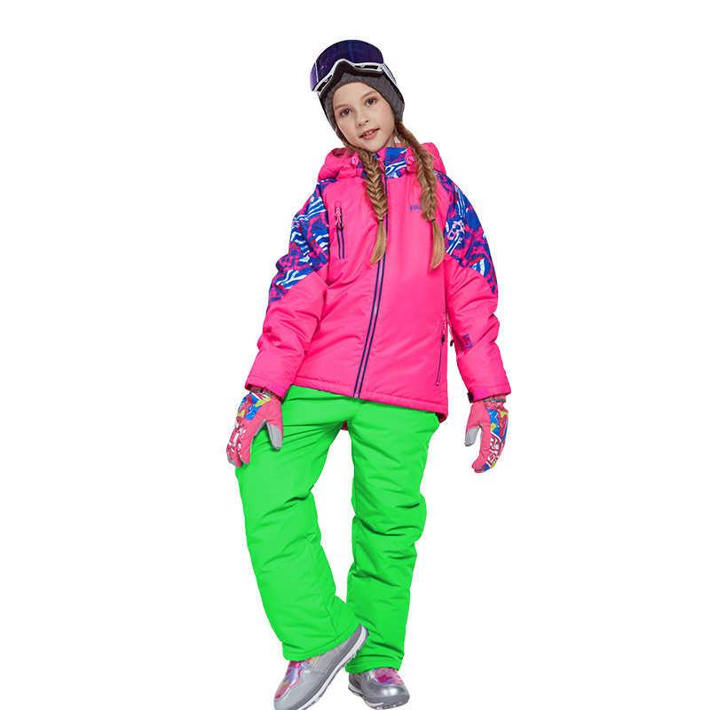 2019 Зимний лыжный костюм для девочек детский лыжный набор водонепроницаемая куртка для сноуборда для мальчиков теплая и ветрозащитная куртка с капюшоном Roupa De ski