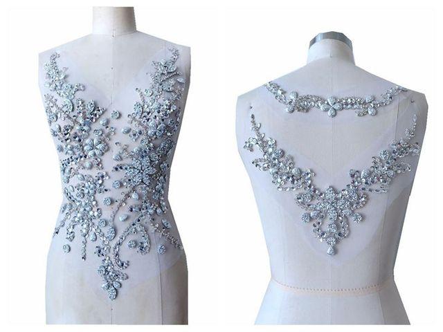 Ручной работы пришить серебряные стразы аппликация на сетки нашивки с кристаллами отделкой 50*30/30*20 см для платье сзади/и спереди