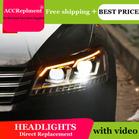 AUTO.PRO headlights for Volkswagen Passat 2012 2015 car styling bi xenon lens LED light guide DRL H7 xenon headlamps for Passat