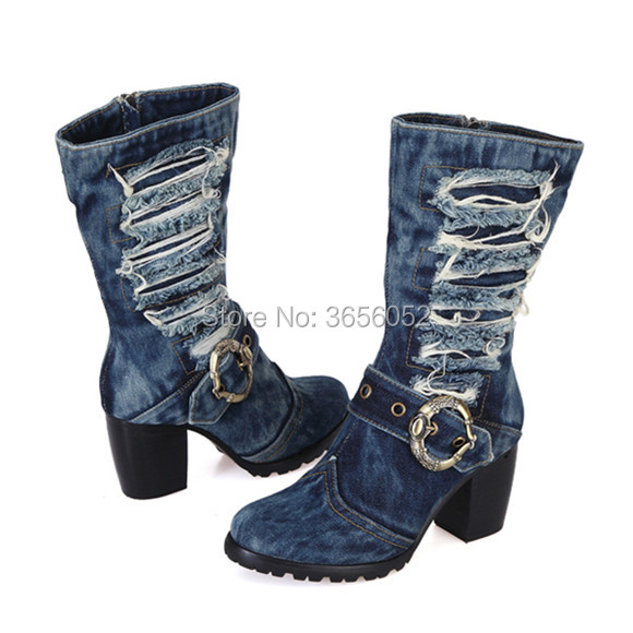 Talons De Fourrure Pic L'intérieur Haute Femme Chaussures mollet Mi Bleu Bottines Cowboy Scarpe Donna Boucle Hiver Bottes Qianruiti Denim Automne As À Chunky zxOfqAnw
