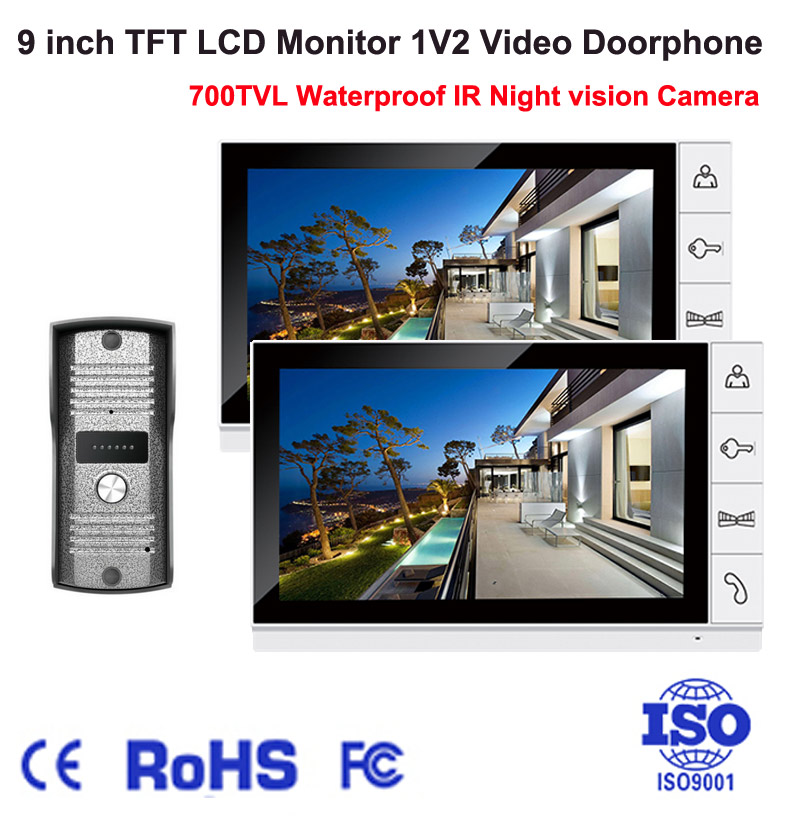 Home 9 inch Monitor Color 1V2 Video Doorphone Intercom System 700TVL IR Night Vision Waterproof Camera Video Doorbell Door Phone home color video doorphone 7 inch lcd monitor 1 to 2 video door phone ir night vision camera video doorbell intercom system