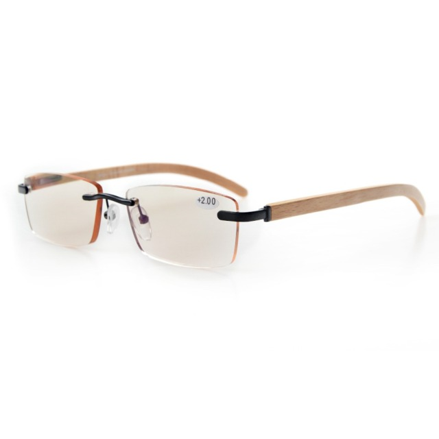 ad15970f0b2 CG1634 Eyekepper Amber Tinted Lenses Computer Readers Spring Hinges Wood  Arms Rimless Computer Reading Glasses Men Women