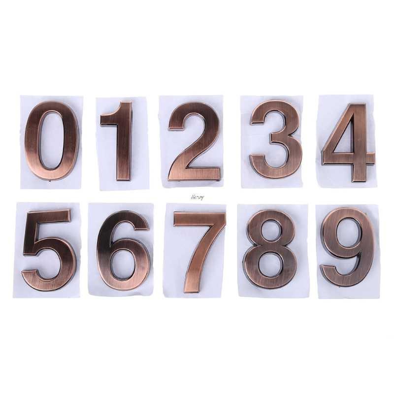 ABS Plástico 0-9 Números de Porta de Bronze Auto-Adesivo Personalizado Casa Sinal de Endereço