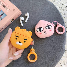 Bluetooth Earphone Case for Airpods Accessories Protective Cover Bag Anti-lost ring Strap Cute Cartoon Silicone 3D Bearded bear