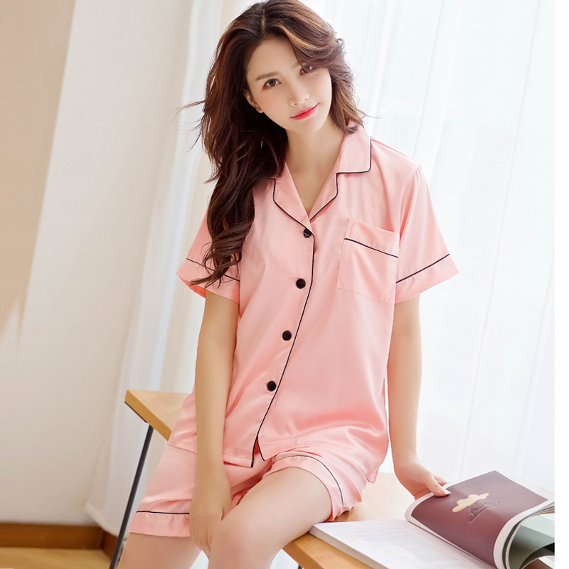 Women Summer Satin Silk Pajamas Set Short Sleeve Shorts Pyjamas Charmeuse  Nightgown Fashion Noble Sleepwear Homewear 2 Pieces-in Pajama Sets from  Underwear ... 2baf8e625