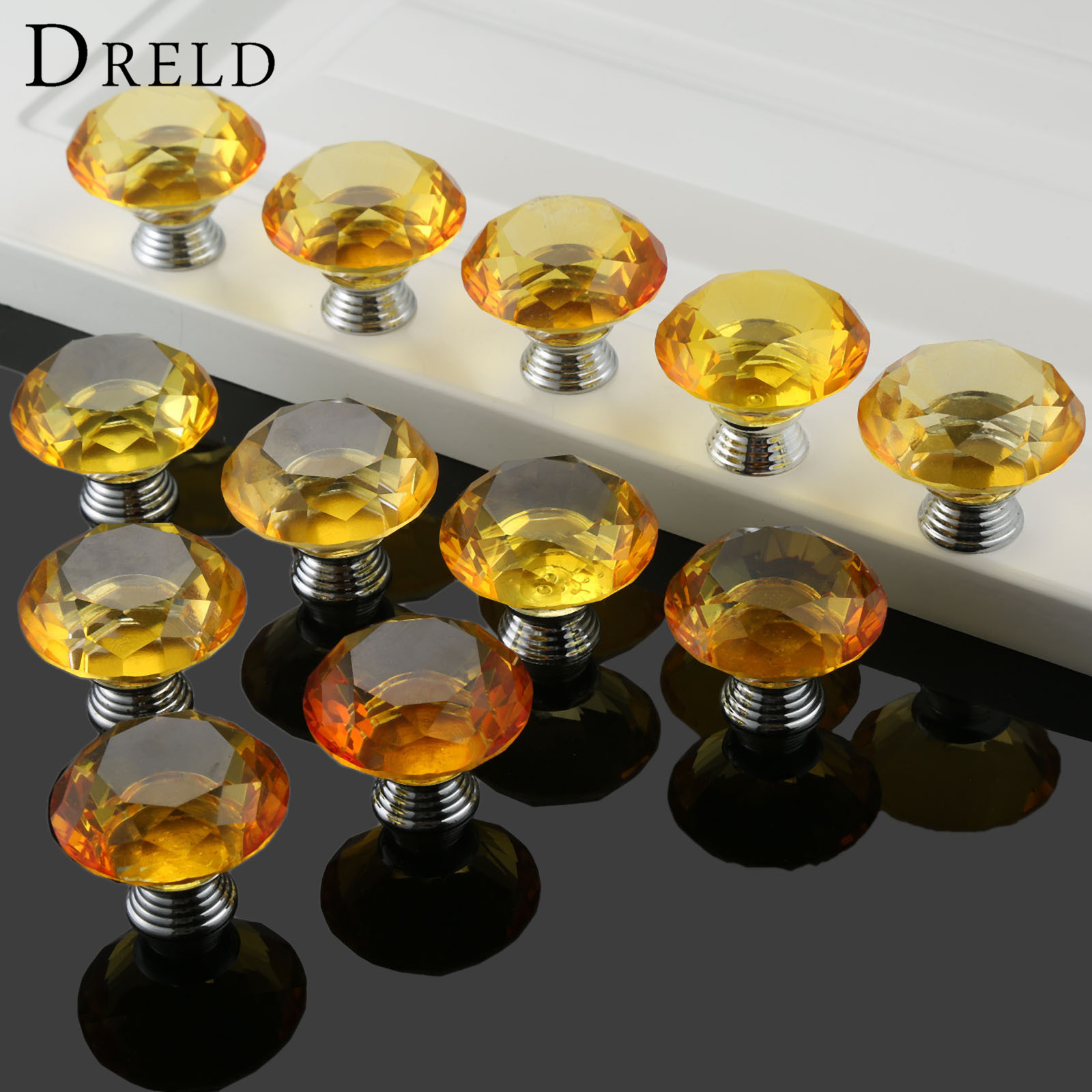 DRELD 12Pcs 40MM font b Yellow b font Crystal Glass Diamond Door Knobs font b Kitchen