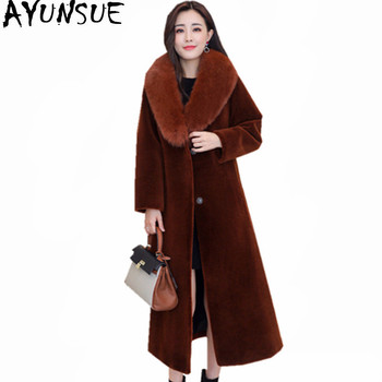 AYUNSUE 2020 New Real Fox Fur Collar Winter Jacket Women Hooded Warm Fur Coat Female Lamb Jackets Thick Long Coats Abrigo WXF442