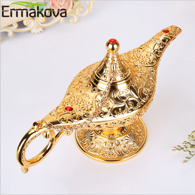 ERMAKOVA Large size Colorful Metal Genie Magic Lamp Retro Wishing Oil Lamp Pot Incense Burner Home Decor Collection Souvenir 4