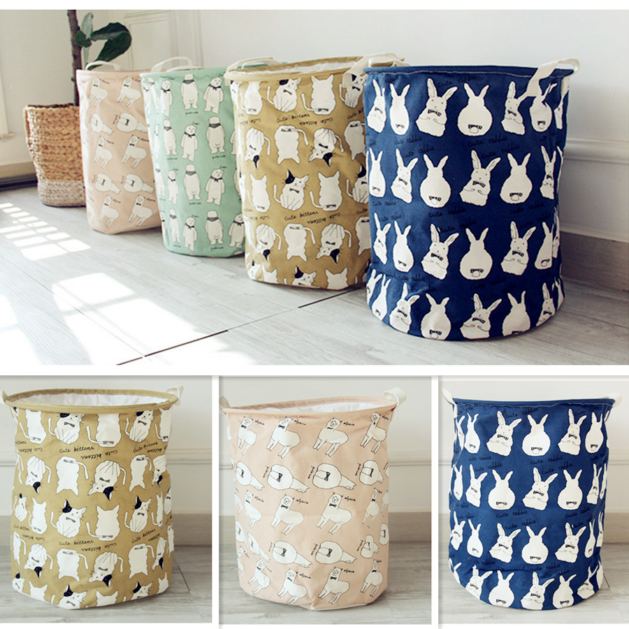 Nice 2017 Newest Cartoon Storage Basket Polar Bear Rabbit Pattern Cotton Linen  Desk Toy Storage Box Holder Laundry Basket