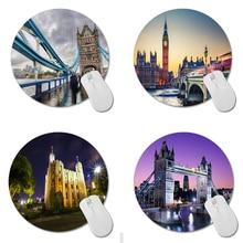 MaiYaCa London Tower Bridge Gaming Tapis de Souris Personnalisé Rond Tapis de Souris 200mm * 200mm