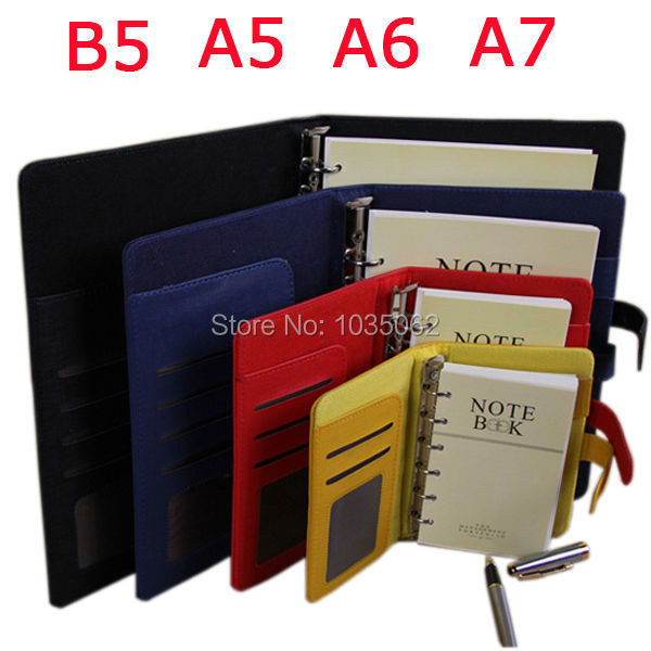 functional A7 A6 A5 B5 business handmade PU leather notebook lined spiral paper hardcover diary journals red black yellow blue wh 7740 pu leather sleeve paper notebook black white 127 sheet size m