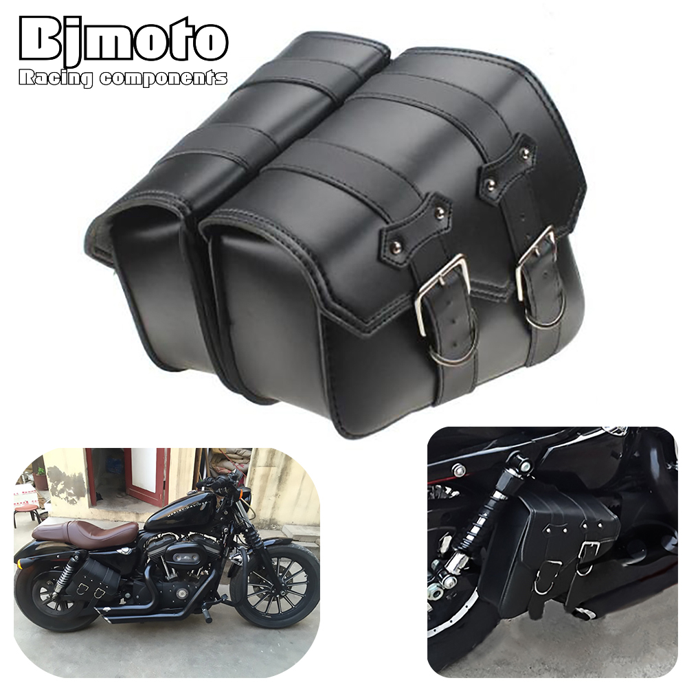 Bjmoto for Harley Davidson Sportster XL883 XL1200 Universal Motorcycle Saddle bag Side Storage Tool Pouches bag motorcycle cnc engine derby timer and timing cover for harley davidson sportster xl883 xl1200 xl883n xl1200c 48 72 accessories