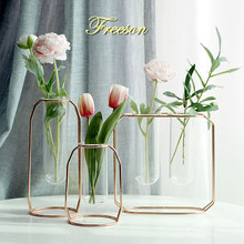 Nordic Glass Cuvette Vase Modern Gold Plated Iron Flower Vase Fashion Plant Vase Creative Terrarium Room Home Wedding Decoration(China)