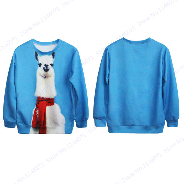 Alpaca Llama Wearing A Scarf Print Women s Sweatshirts Full Sleeves  Tracksuits Autumn Sports Pullovers Training Sweater Sky Blue cbb19142f