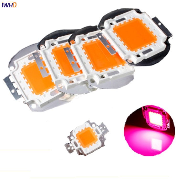 IWHD 2pcs High Power 10W 20W 30W 50W 100W LED Chip Diode with Full Spectrum 380-840nm for Indoor LED Grow Light