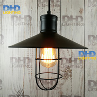Free Ship Vintage Antique Light Industrial Pendant Light Fixture Rust Iron Lustre The Cage Lampshade Lighting