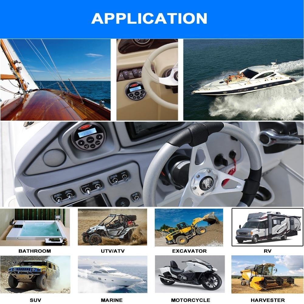 Waterproof Bluetooth Marine Gauge Radio DAB FM Car Audio Receiver ATV UTV RV MP3