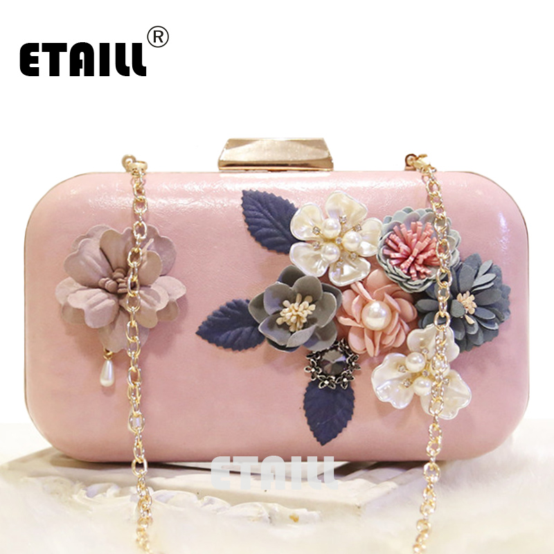 ETAILL Pink White Women Flower Clutch Crystal Bag Famous Brand Clutches Evening Bags Shoulder Crossbody Bags