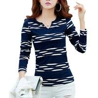 Camisas Femininas 2016 Autumn Long Sleeve Tshirt Women T Shirt Womens Tops Poleras De Mujer Stripe