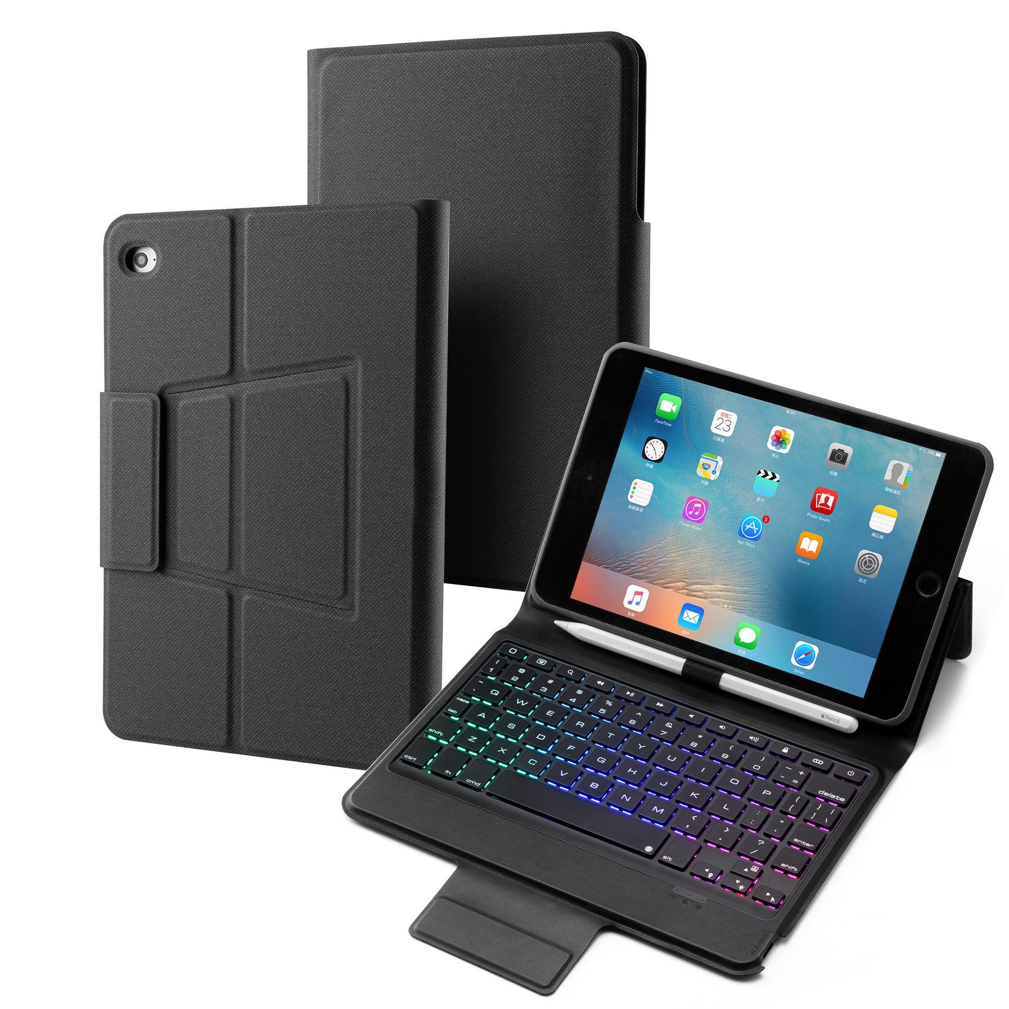 7 couleurs rétro-éclairage étui pour iPad Mini 5 Mini 4/iPad Mini 2019 tablette Bluetooth clavier étui en cuir ensemble avec support porte-stylo