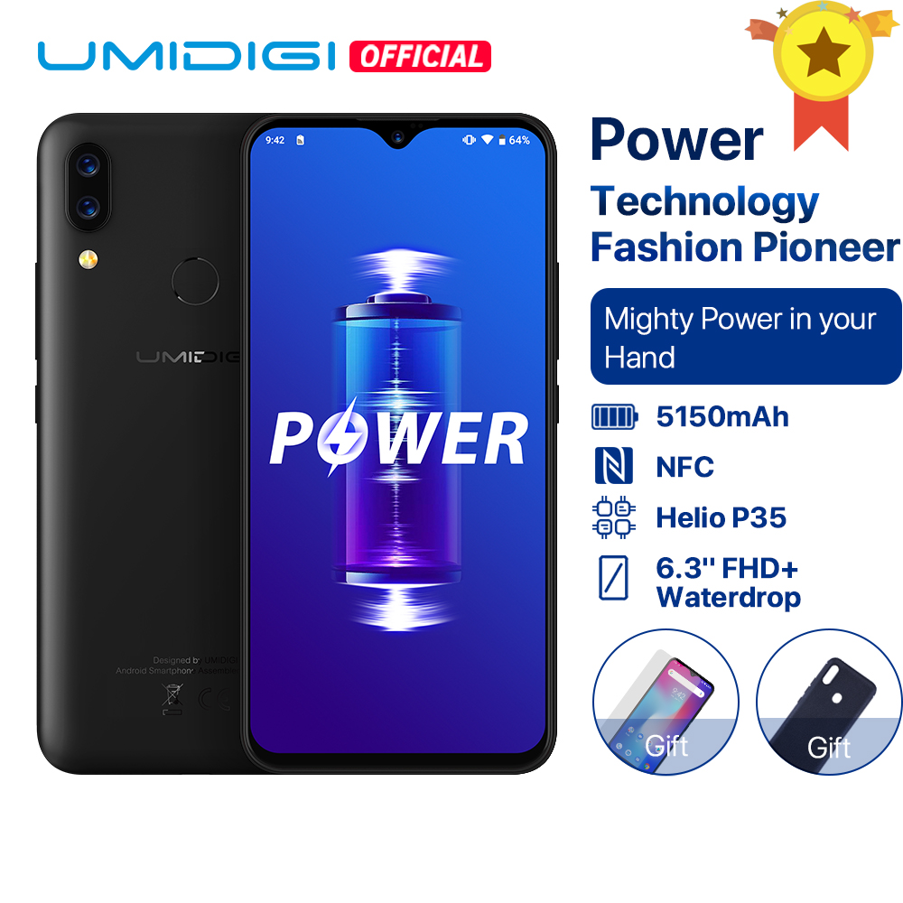 Umidigi power android 9.0 5150 mah bateria grande 18 w 6.3 ffhd + waterdrop tela 4 gb + 64 gb helio p35 versão global smartphone 16mp