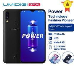 Umidigi power android 9.0 5150 mah bateria grande 18 w 6.3 ffhd + waterdrop tela 4 gb + 64 gb helio p35 versão global smartphone 16mp