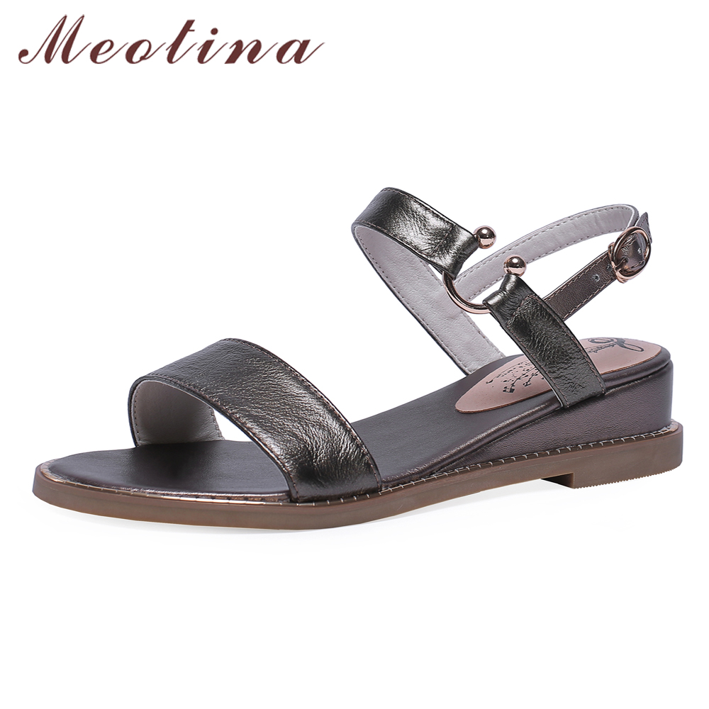 Meotina Cow Leather Women Shoes Summer Sandals Buckle Wedge Heel Shoes Natural Genuine Leather Casual Sandals Female Big Size 43Meotina Cow Leather Women Shoes Summer Sandals Buckle Wedge Heel Shoes Natural Genuine Leather Casual Sandals Female Big Size 43