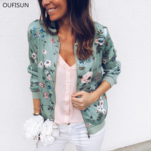 Oufisun Fashion Vintage Floral Print Women Coat Casual Zipper Up Bomber Jacket L