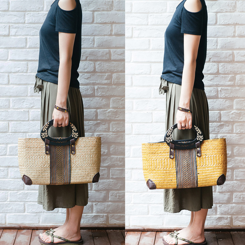 The new Thai version of the handbag package beach grass woven bag national style package retro wooden handle handbag