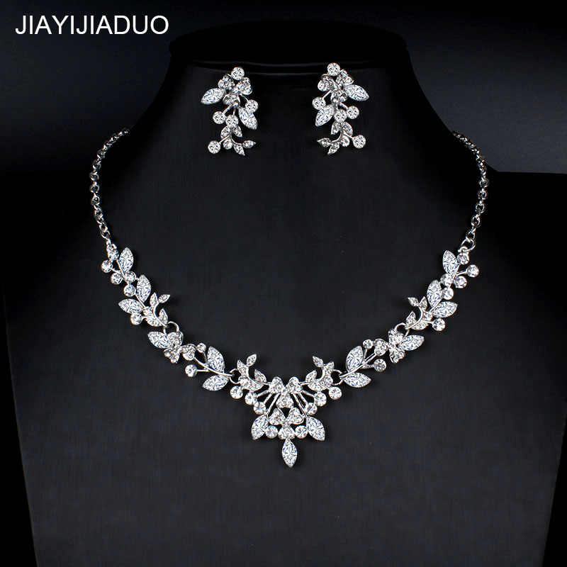 jiayijiaduo Silver color necklace earrings set for women wedding jewelry dress accessories crystal jewelry gift dropshipping