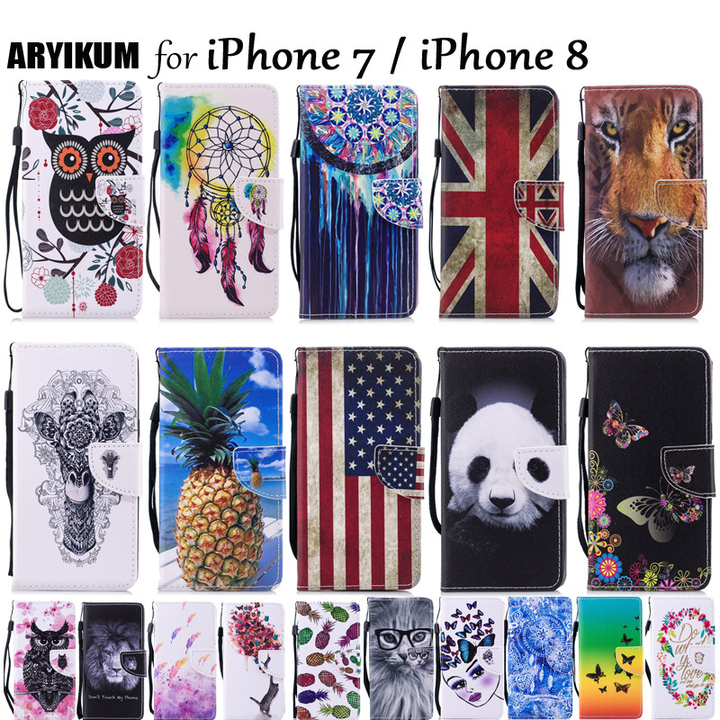 Luxury Wallet Flip Case For iPhone 7 8 Case iPone 7 PU Leather Phone Shell For iPhone7 iPhone8 With Card Slots Stand Case Cover