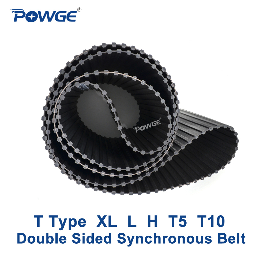 POWGE XL L H T5 T10 Double Sided Synchronous belt Customized production all kinds of XL L H T5 T10 Double Tooth Timing Belt