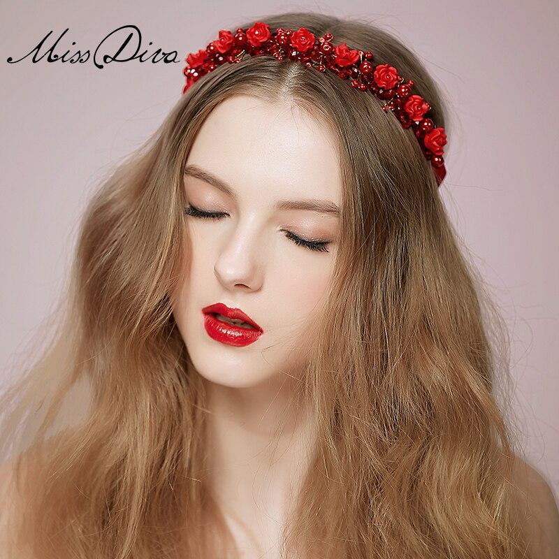 Flores rojas novia cintas para el pelo accesorio casado vestido restaurar maneras antiguas se unen tiara