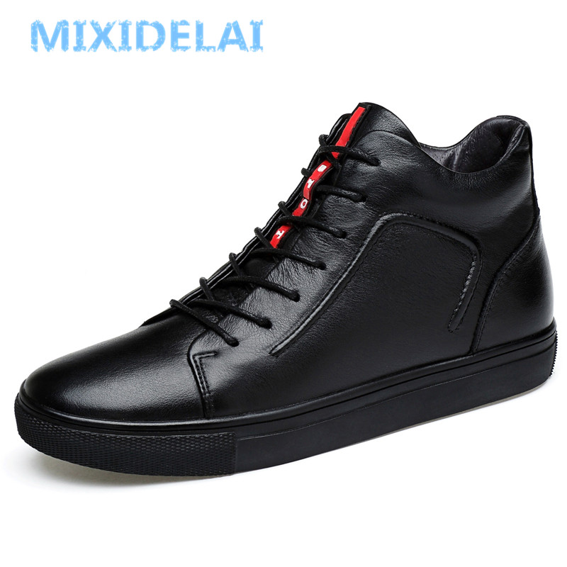 MIXIDELAI 100% Genuine Leather Men Ankle Boots Winter High Top Men Snow Boots Keep Warm Men Boots Flats Boots Men Winter Shoes