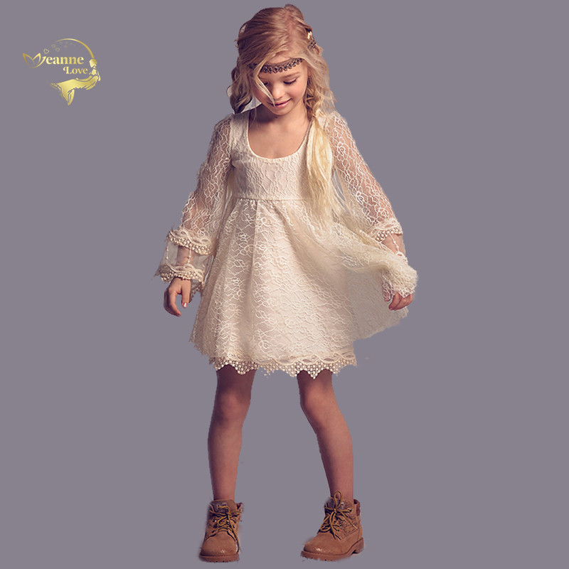 Champagne Lace Long Sleeves Kids Clothing Princess   Dresses   Short Mini Empire   Girls   Children Party Costumes Robe De Soiree Fille