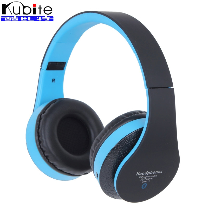 Kubite STN-12 Wireless Bluetooth Headset Earphone Headphones with Micro SD Card Slot FM for iPhone 7/7 Plus Mobile Phone Device