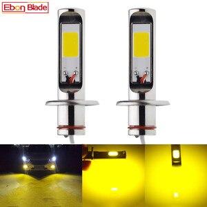 Image 1 - 2 pçs h1 auto led luzes de nevoeiro alta potência cob 80 w amarelo dourado 3000 k luz circulação diurna drl lâmpada condução 12 v 24 v 30 v ac