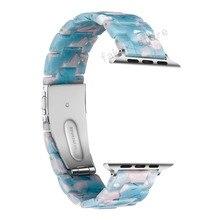 Resin strap band for apple watch series 4/3/2/1 44 40 42mm 38mm iwatch bracelet wrist belt Watch accessories watchband Sky Blue