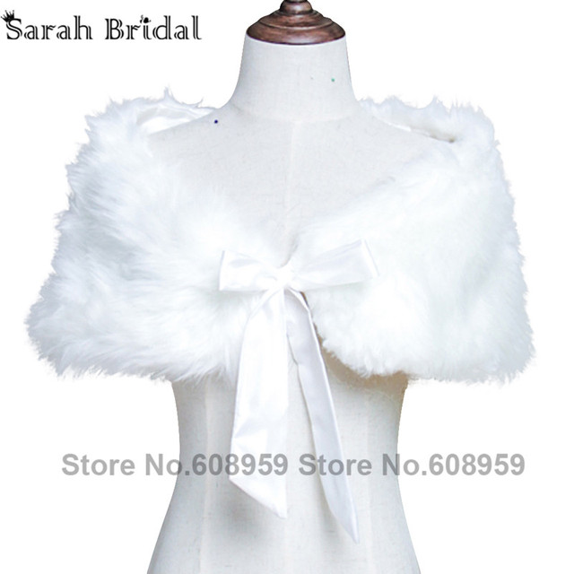 Nuevo en Stock boda chales y abrigos Bolero Faux Fur blanco abrigos ...