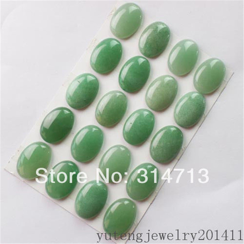 20Pcs Beautiful 25x18x6mm Green Aventurine Oval CAB CABOCHON D0080347
