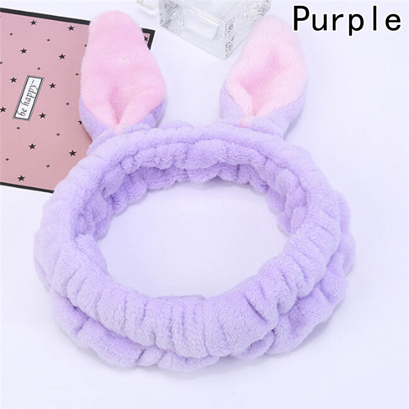 1 Pc Korean Style Adorable Pink Hairband Flannel Cute Girls Makeup Headband Rabbit Ear Thickened Elastic Headbands pink blue adorable cute owl wood clip20pcs