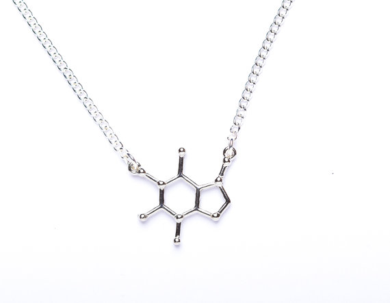 Chocolate Molecule Science Chemical Structure Black Pendant Necklace