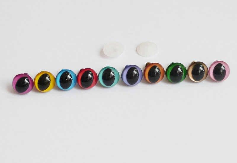 Акция 500 шт. 12 мм пластиковые безопасности глаза игрушка кошка с шайбой для куклы аксессуары --- 10 видов цветов вариант