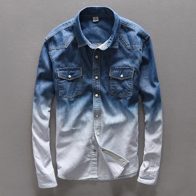 e500298e26 Primavera Jeans Camisa para hombre marca Casual Denim Camisa larga del algodón  de los hombres camisas